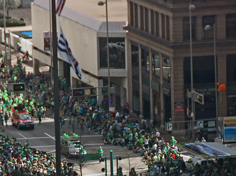 St. Patrick's Day Parade as viewed from my hotel window.