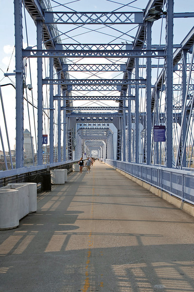 The Purple People Bridge, now a pedestrian only bridge, was refurbished in 2001 and focus groups decided that it should be painted purple.