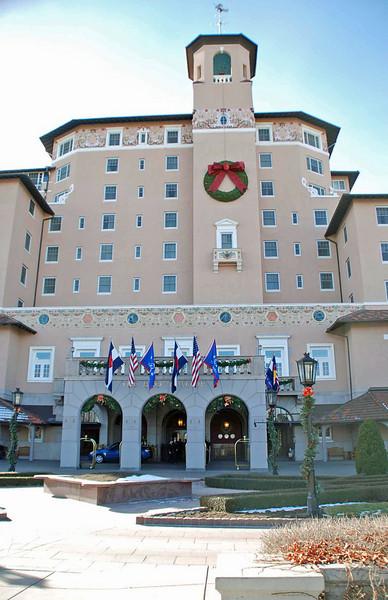 The main entrance of the Broadmoor Resort, Colorado Springs.