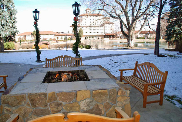 An outdoor fire pit at the Broadmoor resort.