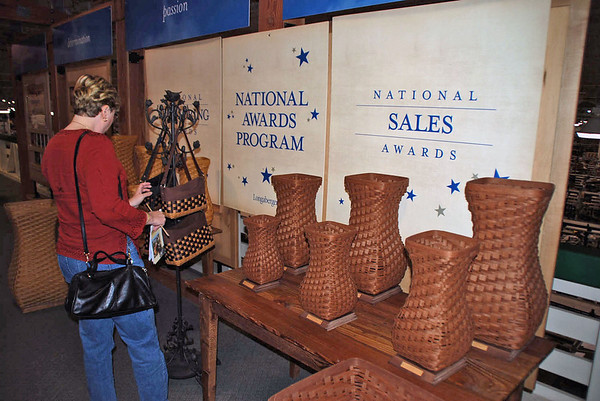 Many different baskets were on display above the factory floor.
