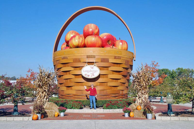 A large basket of apples at the Longaberger Homestead, Frazeysburg, Ohio.