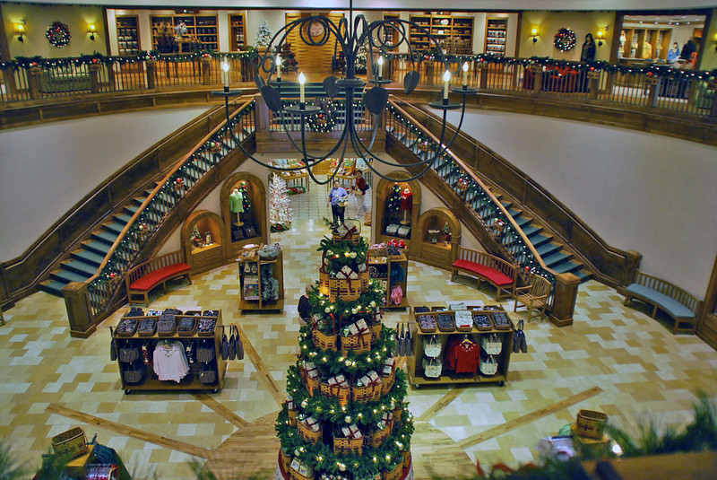 The grand staircase at the Longaberger At Home Store.