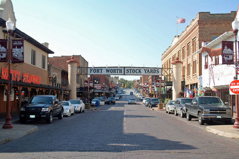 A street scene near the Stockyards, Fort Worth, Texas.