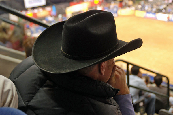 Cowboy watches the rodeo.