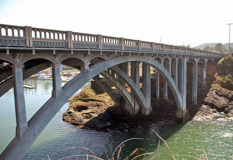 The bridge over the harbor entrance at Depoe Bay, Oregon.