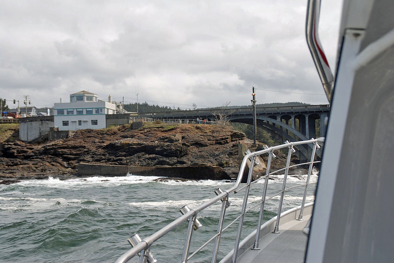 Returning to Depoe Bay harbor, the Whale Watching Museum is the white building on the left.