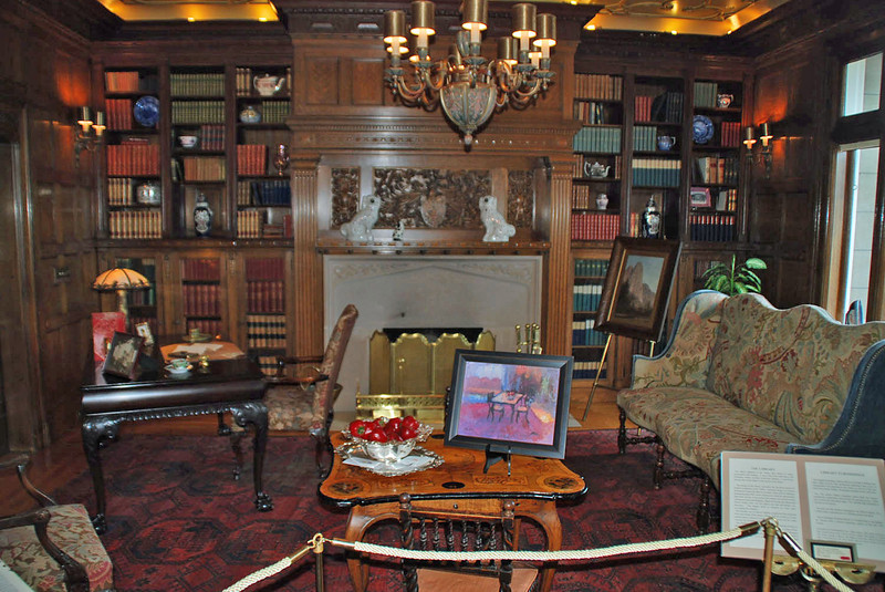 The library at Pittock Mansion.