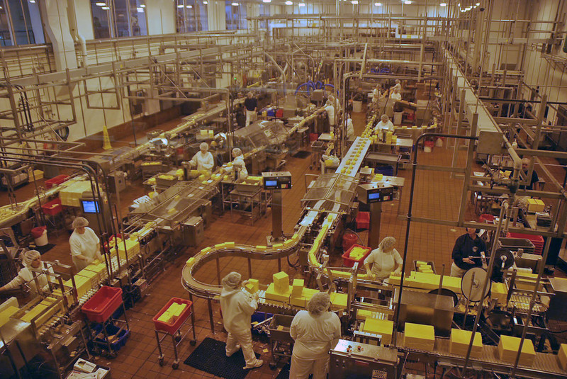 The packing facility at the Tillamook Cheese Factory.