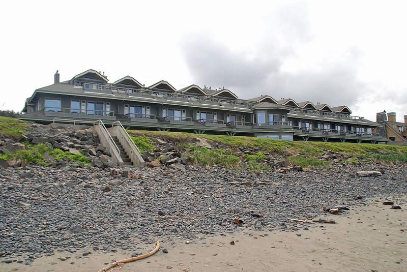 The Stephanie Inn seen from the beach.
