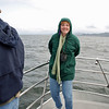 Jean at the bow of the 43-foot whale watching boat.