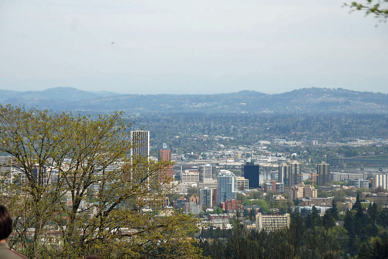 The view of downtown Portland from the grounds of the Pittock Mansion.