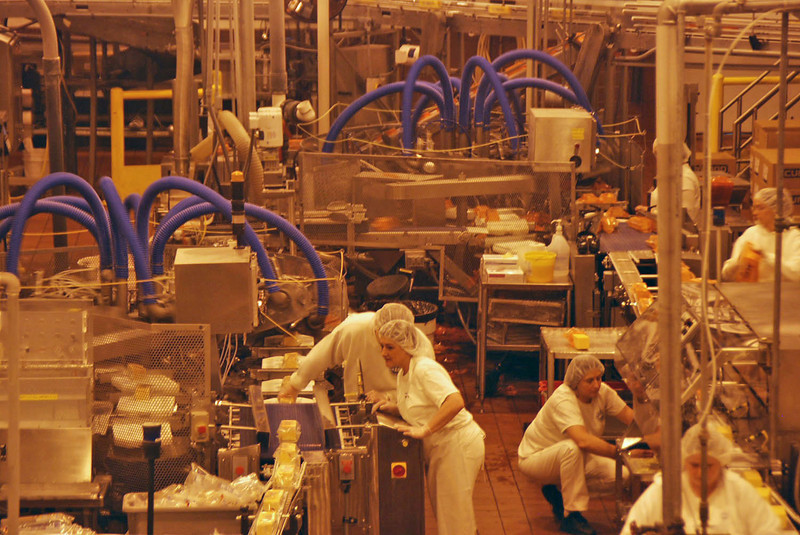 The spider-like robots are machines that seal the plastic wrapper around the blocks of cheese.