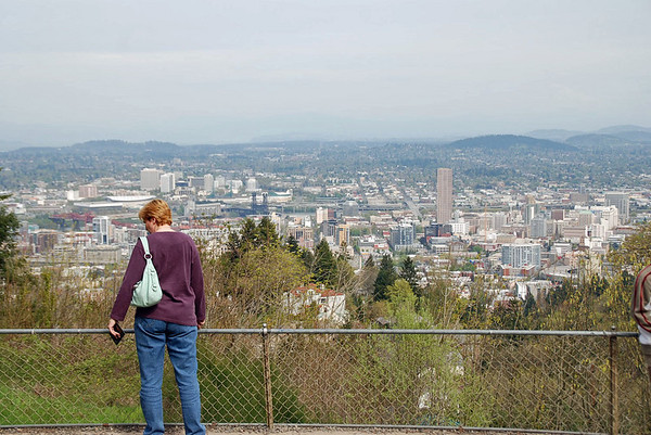 Jean enjoys the view from the grounds of the Pittock Mansion.