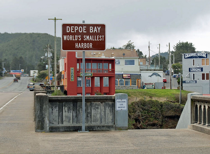The bridge in downtown Depoe Bay, Oregon.