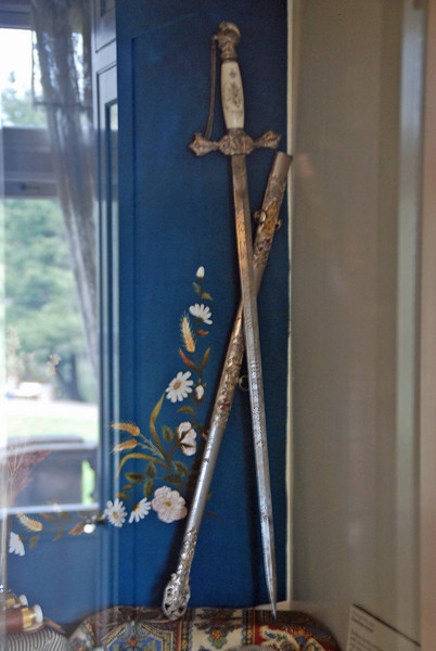A sword belonging to Henry Pittock on display at the mansion.