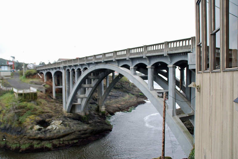 The bridge over the entrance to Depoe Bay harbor.
