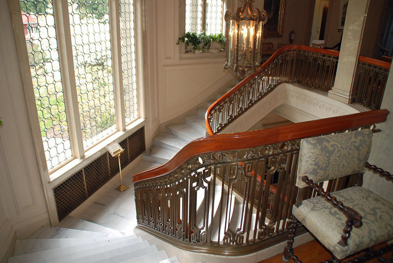The main staircase at the Pittock Mansion.