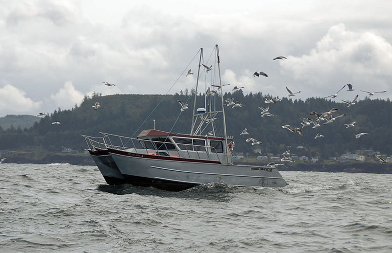 Saying goodbye to the crabbing boat.