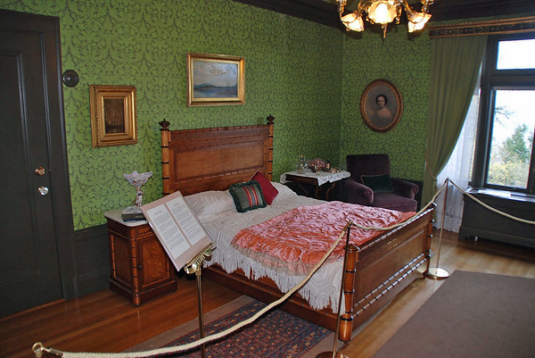 A bedroom at the Pittock Mansion.