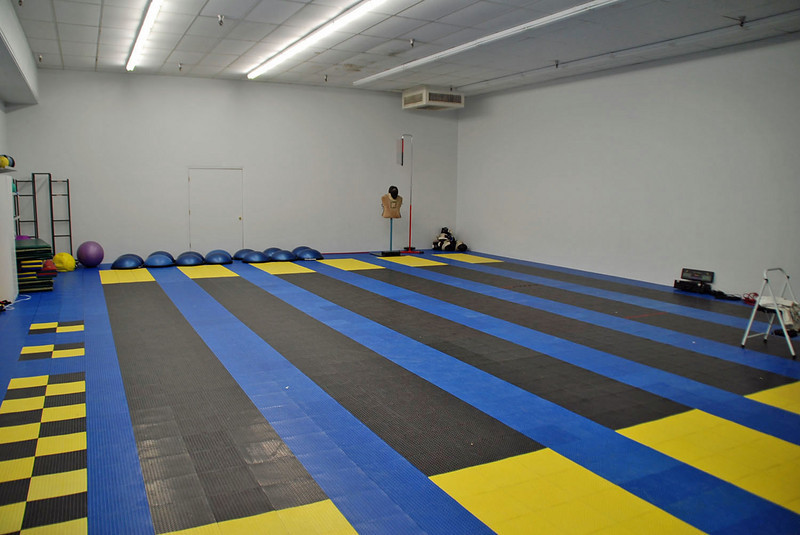 A practice room at the Northwest Fencing Center has additional non-metallic strips.