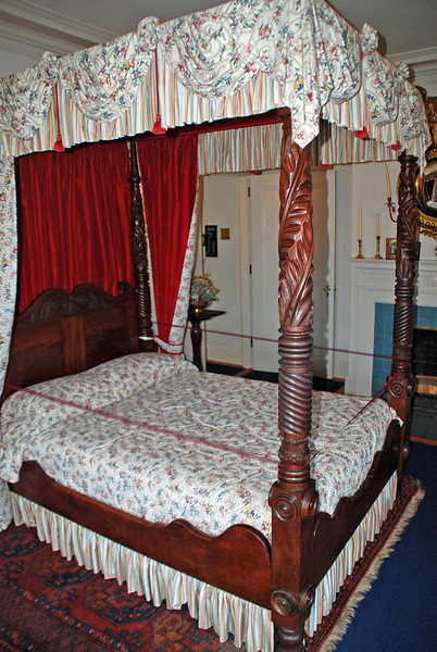 A canopy bed in one of the bedrooms of the Pittock Mansion.