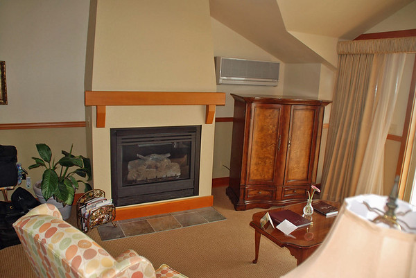A gas fireplace in the living room of our suite.