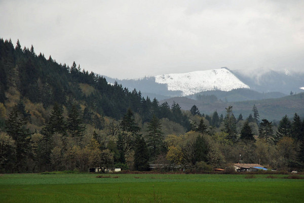 A view of snowcapped mountains on the way to Depoe Bay.
