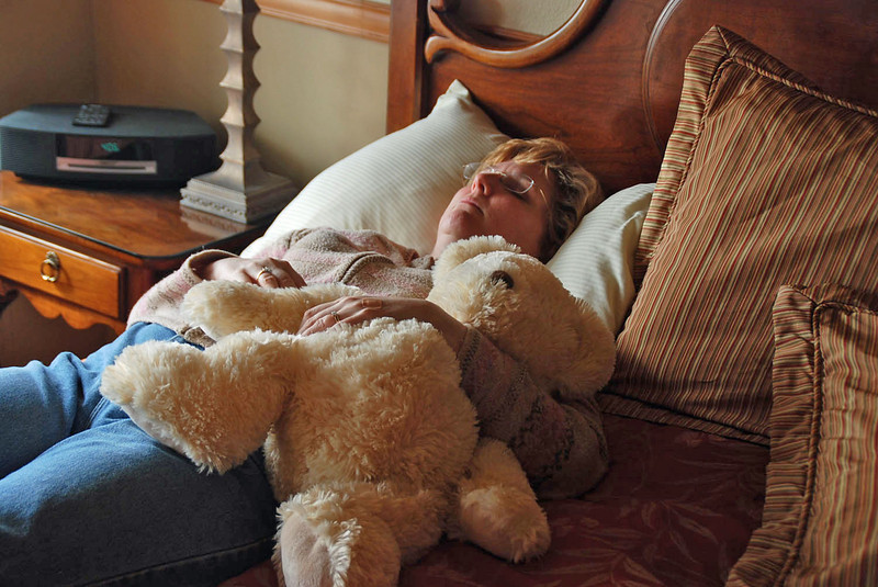 Jean takes a short afternoon nap with a friend.
