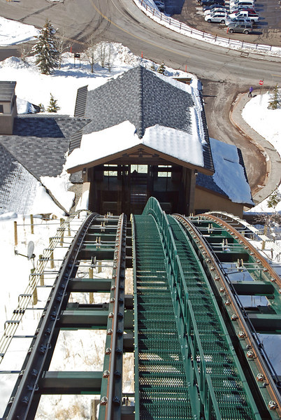 Riding the funicular from the St. Regis Hotel.