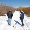 Arnie & Manette take Crosby on a walk.