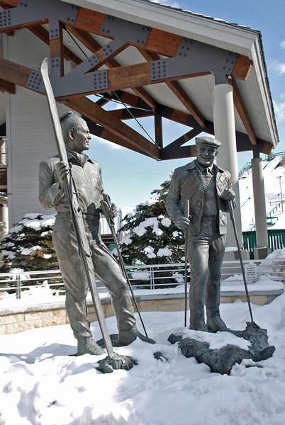 Utah Olympic Park's Olympic Legacy Plaza, two eight-foot bronze statutes of Joe Quinney and Alf Engen were unveiled in September 2002. The sculptures were created by Alpine artist Kraig Varner.