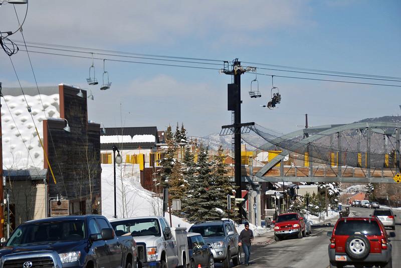 Ski lift in the center of town in Park City, UT.