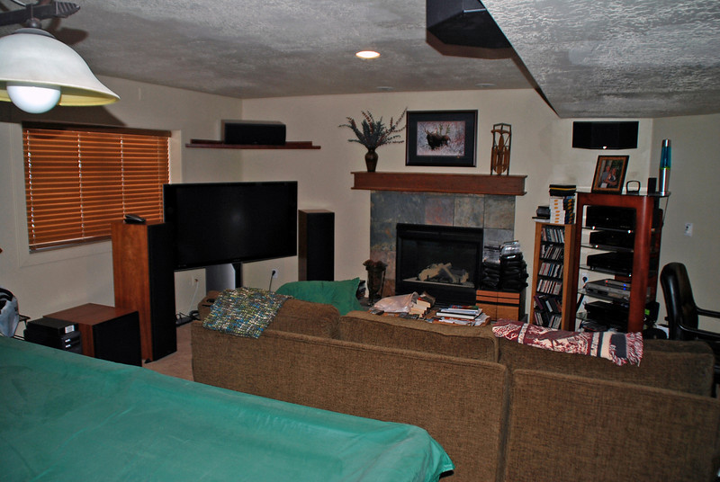 """Arnie's """"man cave"""" in the basement of their condo."""