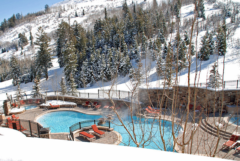 The outdoor heated pool at the St. Regis Hotel.