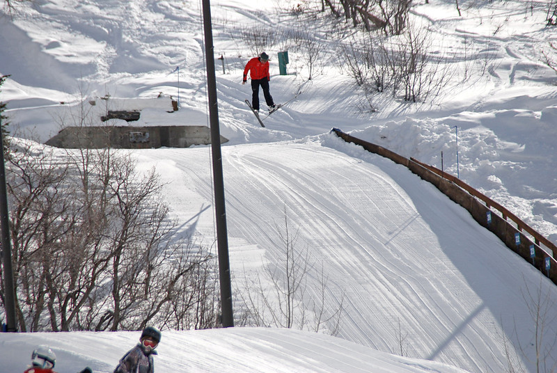 One of the kids in the air off the 40-foot ski jump.