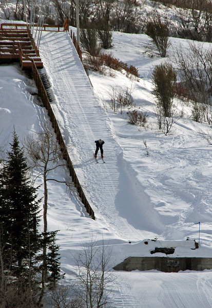 On the way down the 40-foot ski jump.