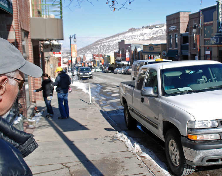 Arnie Finkleman and his truck on Park City Main Street.