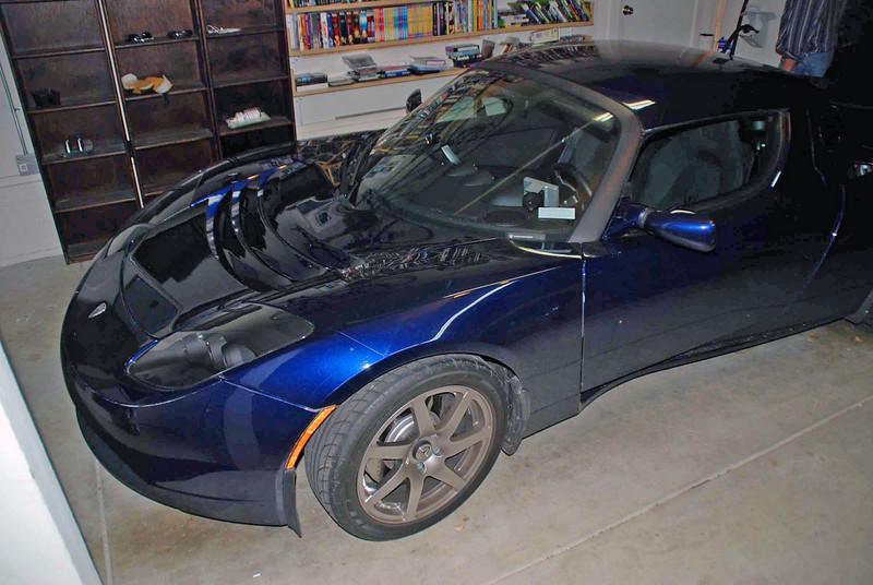 Bruce Wonnacott's totally electric car, a Tesla.