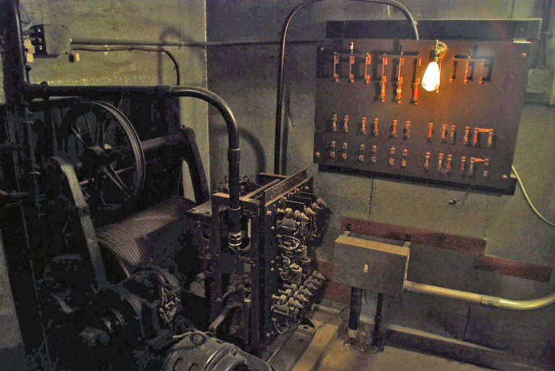 The electric elevator mechanism at Winchester House.