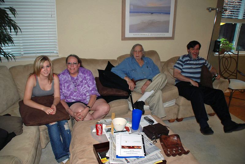We visited family in Folsom, CA.  From left: Ronnie Weaver (2nd cousin), Racelle Weaver (1st cousin), Richard Finkleman (uncle) and Robert Weaver.