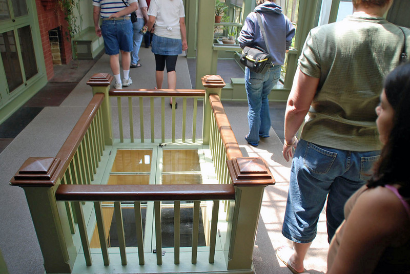 A window in the floor at Winchester House.