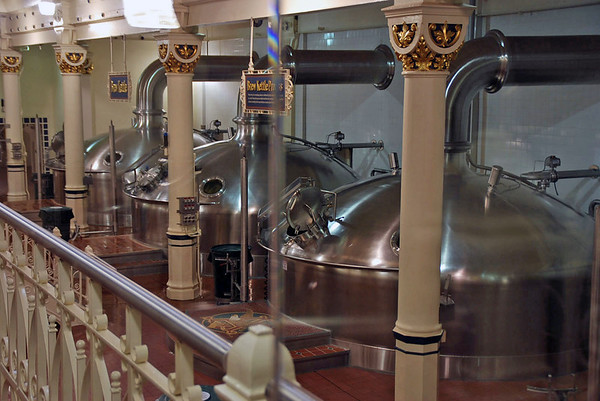 The brew kettles at the Budweiser Brewery.