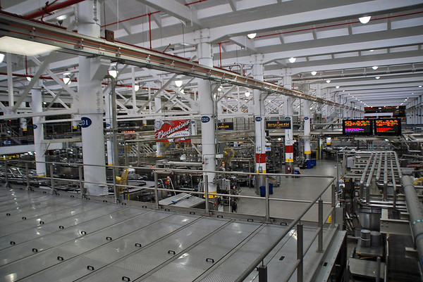 The bottling and packaging facility at the Budweiser Brewery.