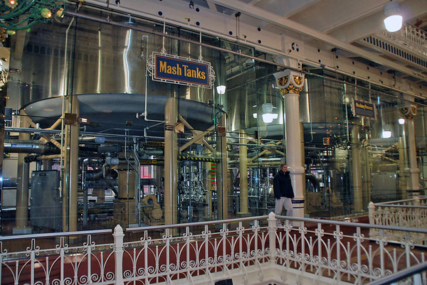 The mash tanks at the Budweiser Brewery.