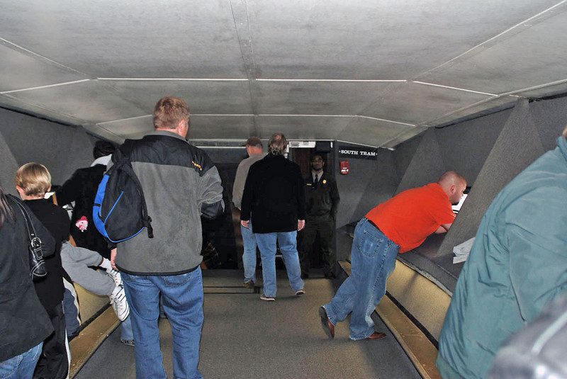 Inside the viewing area at the top of the Arch.