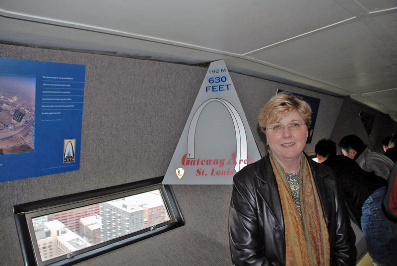 Jean at the top of the Gateway Arch.
