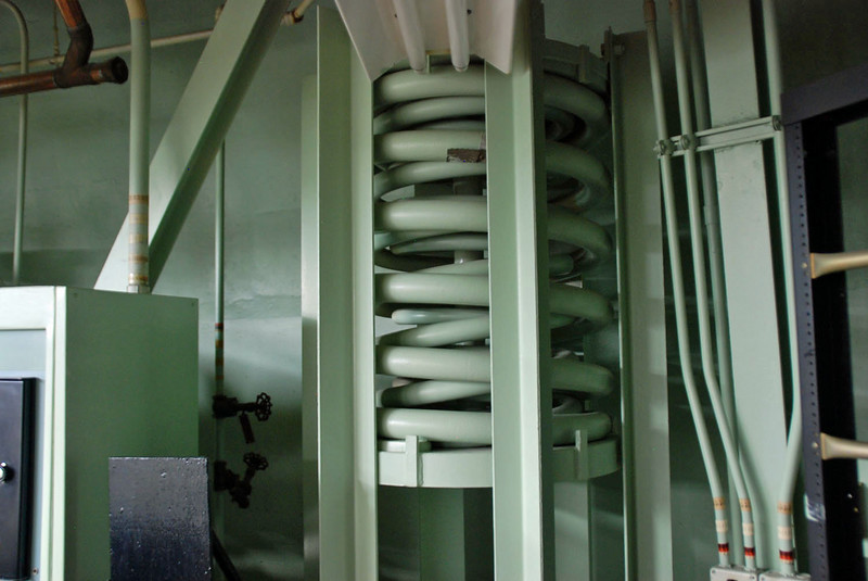 Large springs support the command center so that it is blast resistant.