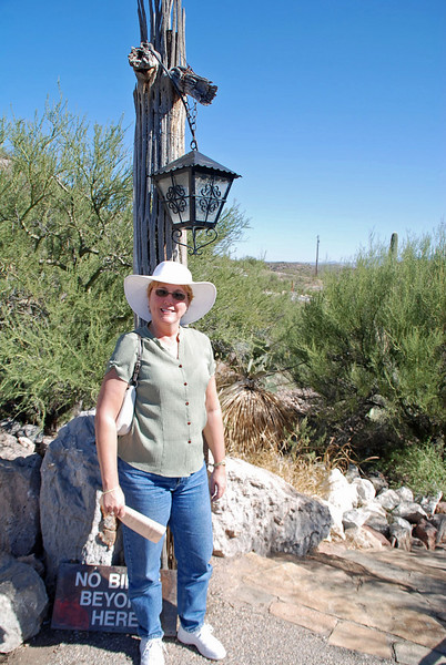 Jean Finkleman at the head of the trail leading to Colossal Cave.