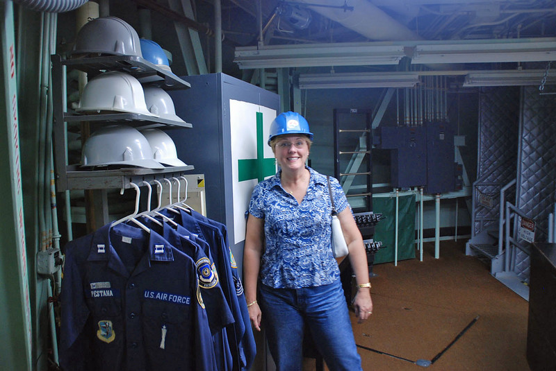 Hard hats required to visit the underground facility at the Titan Missile Museum.